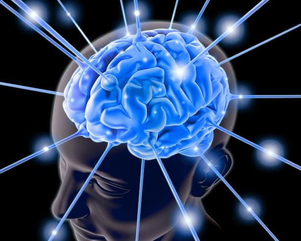imagem de um cérebro com conexões sinápticas.