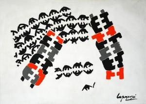 Giuseppe Capogrossi_ Superfície 455, 1961_ óleo sobre tela