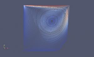 Exemplo de fluido modelado em 2D.