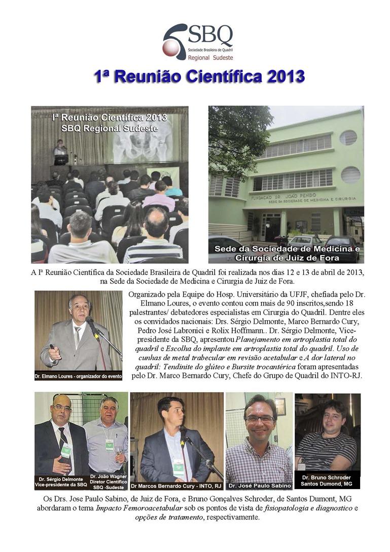 1ª Reunião Científica da Sociedade Brasileira do Quadril 2013