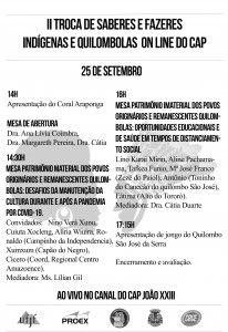 Cartaz II Troca de Saberes e Fazeres Indigenas e Quilombolas On line do CAP