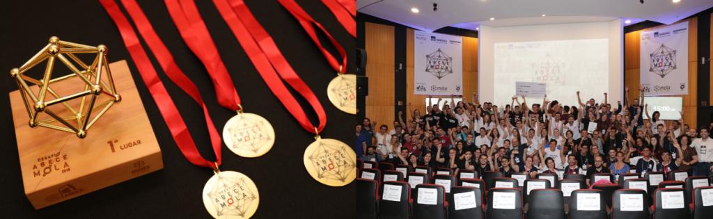 3. Mesa de premiação do Desafio Estudantil ABECE Mola 4. Participantes do evento e organização