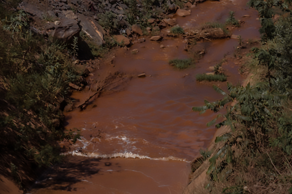 Lama e elementos químicos dos rejeitos modificam a morfologia e os ambientes biológicos dos rios (Foto: Maria Otávia Rezende)